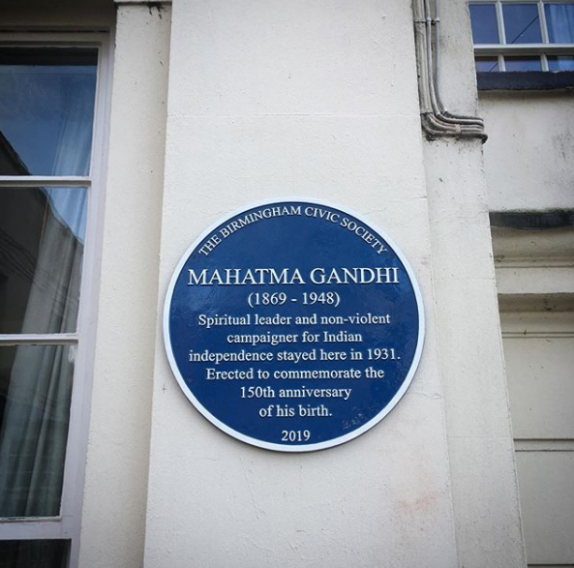 Blue plaque to mark 150th birth anniversary of Mahatma Gandhi Woodbrooke Quaker Conference Centre