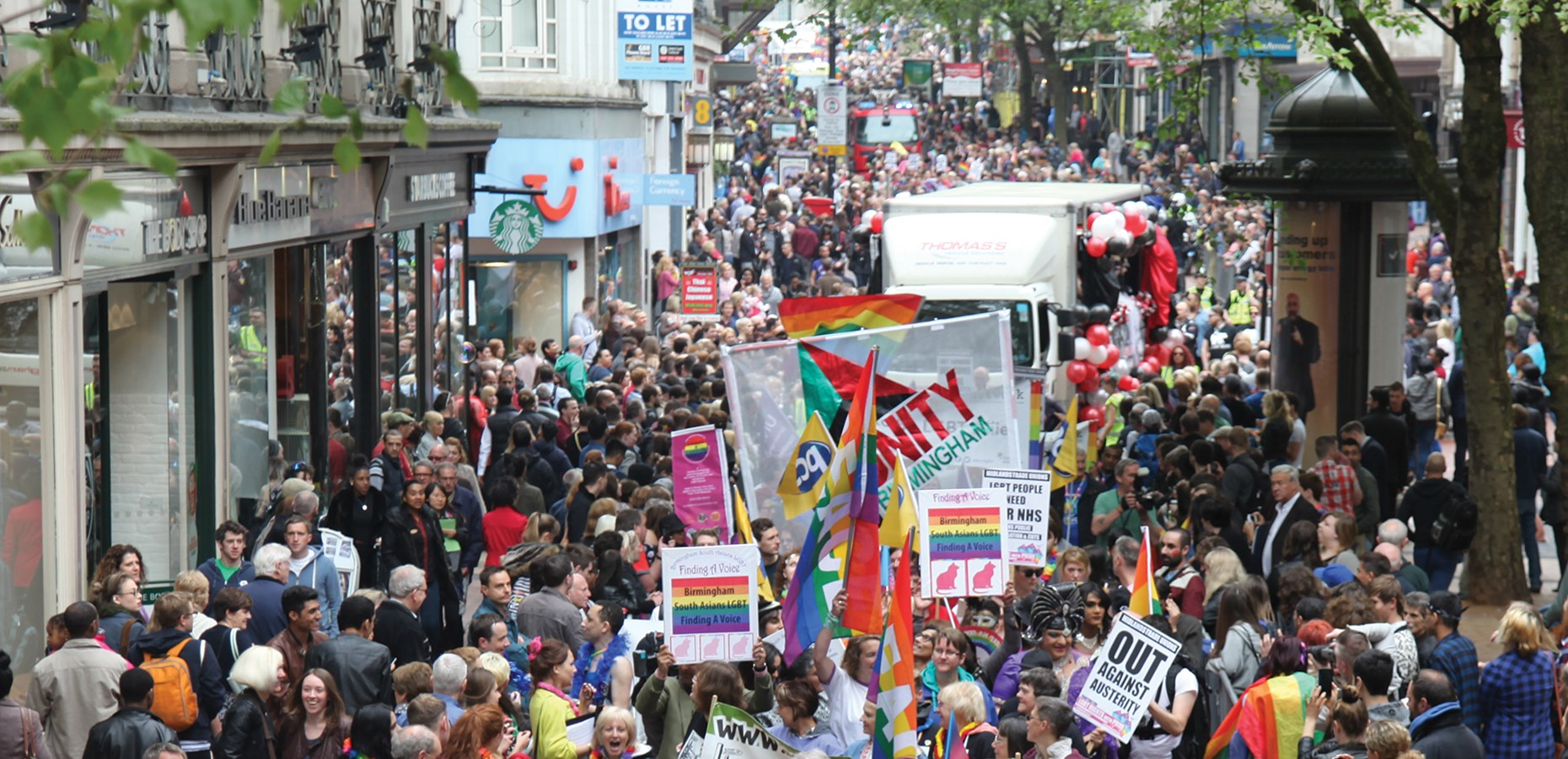 A photograph of Birmingham Pride from above